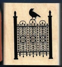 STEEL FENCE GATE Raven TOXIC TREATS Halloween Landscape STAMPIN UP! RUBBER STAMP