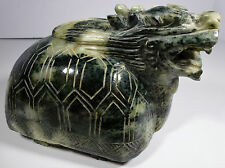 Green Jade Turtle Dragon Carved Vintage