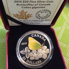 ONE DAY AUCTION 2015 $20 1oz Silver Coin COLIAS GIGANTEA Butterflies of Canada