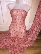 "1 MTR PEACHY PINK FLORAL PRINT LACE NET LYCRA STRETCH FABRIC..60"" WIDE £4.99"