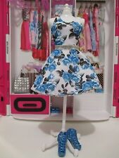 Barbie Doll Clothing FASHIONISTAS ADD ons white dress blue roses summer & shoes
