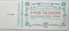 Noodgeld Ename 2 frank 14-18 WOI Billet de Necessite