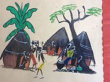 Peinture Africaine Le Village Anime Gouache Signée IBON Brazzaville vers 1950