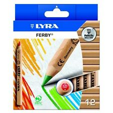 LYRA FERBY HALF-SIZE COLOURING PENCILS NATURAL WOOD FINISH Pack of 12