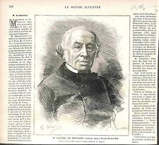 Édouard Lefebvre de Laboulaye Juriste Homme Politique FRANCE GRAVURE PRINT 1883
