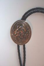 Crumrine western gold plate Victorian oval bolo tie