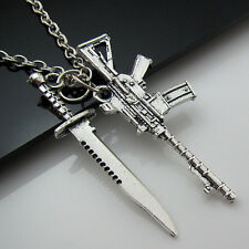 Free Tibetan Silver Saber Machine gun Lucky Pendant Charm Military fans Necklace