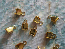 Gold Plated Rhinestone Chain Connector Crimps 5mm Size for 4mm Size Chain Qty 10