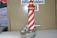 "Resin Lighthouse Red & White Striped Display 8"" Tall LH-94"