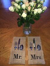 Wedding Reception Burlap Utensil Holders for Table Decor