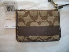 COACH SIGNATURE KHAKI ~ MAHOGANY STRIPE ID CASE SKINNY COIN PURSE 47665 NWT