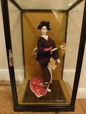 Japanese Geisha Doll in Glass Presentation Case -  1970s Beautiful  FANS