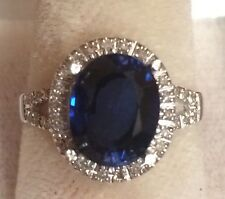3.64CT NATURAL BLUE SAPPHIRE AND DIAMOND RING IN 14K WHITE GOLD NICE!