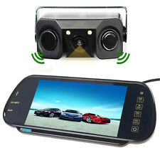 "7"" HD MP5 Bluetooth Car Rearview Mirror Monitor+3 in 1 Car Parking Sensor Camera"
