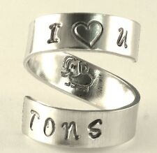 I Love You Tons Cute Elephant Spiral Hand Stamped Ring