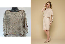 MONSOON Gold Azalea Beaded Glamour Cape Dress UK 8 EU 36 £149 Cocktail Prom