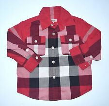 Burberry Designer Boys 3 3t Red/Black Plaid Check Button Down Shirt JA1