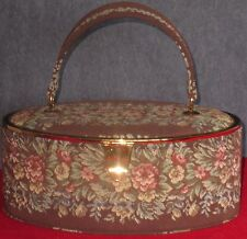 Vintage Bienen Davis Brown Floral Tapestry Box Style Handbag Purse