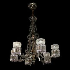 Gas Bronze & Cast Iron Chandelier, American 19th C.  #6356