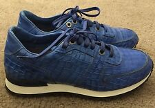 Robert Graham Amazon Croc-Embossed Blue Leather Sneakers 8D Made In Italy