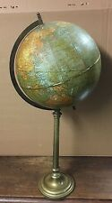 Antico Vintage early 20th CENTURY Weber Costello CO OTTONE GLOBO TERRESTRE VECCHIO