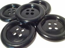 4 GIANT BLACK 50mm LARGE PLASTIC CLOWN BUTTONS SEWING AND FANCY DRESS