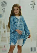 KNITTING PATTERN Girls Deep Round Neck Beach Poncho Cotton DK KC 4463
