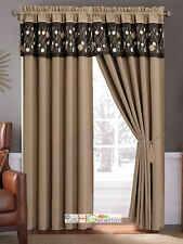 4-Pc Meadow Wild Flower Embroidery Curtain Set Coffee Brown Tan Valance Sheer