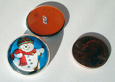 Snowman Red Bird Glass Dome Button collectible shank style sew or pin on
