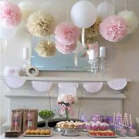 """20pcs Pink Tissue Paper Pom Poms Flower Ball Party Outdoor Xmas Decoration 6"""""""