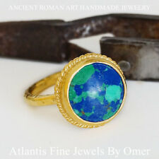 OMER MOSAIC TURQUOISE RING STERLING SILVER TURKISH FINE JEWELRY 24K GOLD PLATED