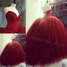 Burgundy Colored Wedding Dresses Vinatge Prom Party Formal Quinceanera Ball Gown