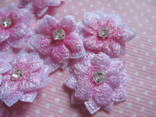 10 x 7/8 PINK PADDED FLOWER WITH RHINESTONE CENTRE EMBELLISHMENT HEADBANDS BOWS