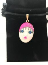 """""""Pink Champagne """" Adagio Face Necklace Hand-Painted Porcelain Swarovski Crystal"""