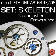 SKELETON RATCHET + CROWN WHEEL SET, FIT MOVEMENT ETA 6497, 6498