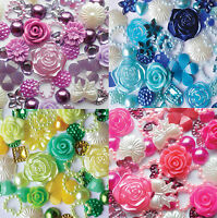 50 x Mixed Flatbacks Embellishments Card making  flowers hearts Buy 4 get 1 free