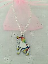 Unicorn Necklace With Organza Gift Bag Party Bag Gift Prize FREEPOST