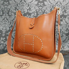 Rise-on HERMES Evelyne PM Brown Leather Cross Body bag Shoulder bag #65