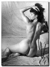 "Bettie Page Vintage Pinup *FRAMED* CANVAS ART 24x16"" Black & White photo F"