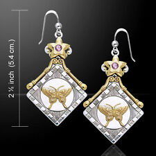 Amy Zerner Silver and Gold Butterfly Earrings Amethyst Gemstone Peter Stone