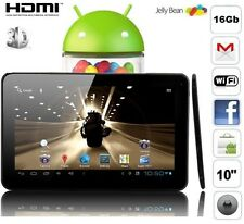 Tablette tactile 16 go 10 pouces full hd 1080p capacitif wifi google play jeux