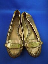 Vintage Coach Women's Shoes Flats 5M Metallic Bronze Leather Olympia Style