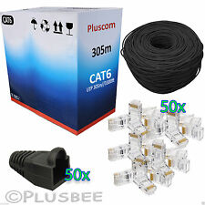 305M Meter Black Cat6 Cable Roll Ethernet Network + 50Pc Connector & Boots Free