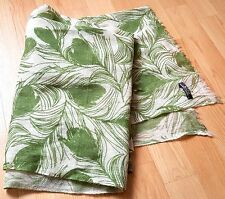 """Brand New Cashmere Scarf. Feather print. 27"""" X 79"""". Green on Cream"""