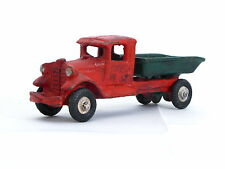 OLD HUBLEY CAST IRON DUMP TRUCK RED GREEN CAMION CAVA GHISA 13 CM ROSSO VERDE