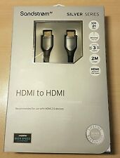 SandStrom Silver HDMI to HDMI & Ethernet 21gbps - 2 Metre - Lifetime Guarantee