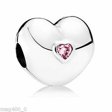 Genuine Authentic Pandora Steady Heart Clip, Pink CZ Stone 791981PCZ