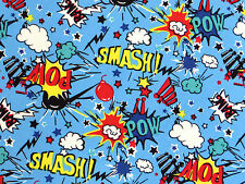 Por Metro Azul Algodón Comic Book Dibujos Animados Kitsch Pow Smash Pop Art Retro De Tela
