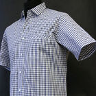 Alexander Hay Relaxed Mens Blue Check Casual Short Sleeve Shirt Easy Care Cotton