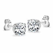 0.50 ctw Sterling Silver Cubic Zirconium Round Stud Earrings Platinum-Plated